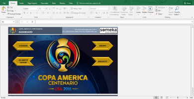 Copa America 2016 Excel Template - Schedule & Score Sheet - Template Screenshot Image 1 - Someka