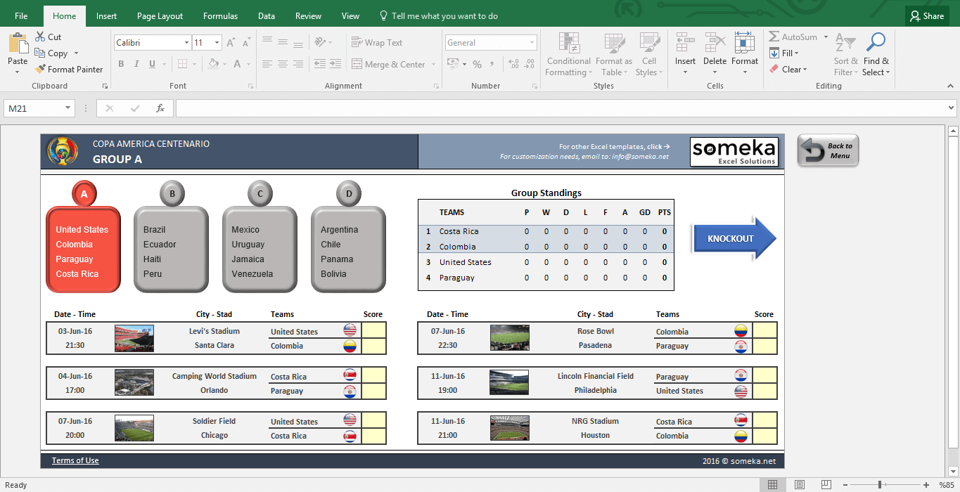 Copa America 2016 Excel Template - Schedule & Score Sheet - Template Screenshot Image 2 - Someka