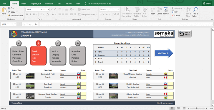 Copa America 2016 Excel Template - Schedule & Score Sheet - Template Screenshot Image 3 - Someka
