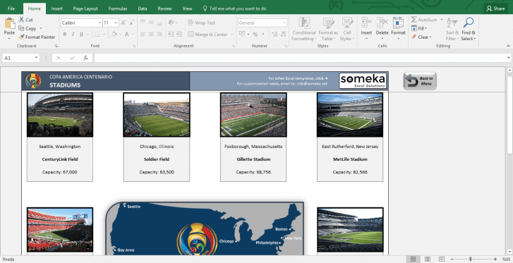 Copa America 2016 Excel Template - Schedule & Score Sheet - Template Screenshot Image 4 - Someka