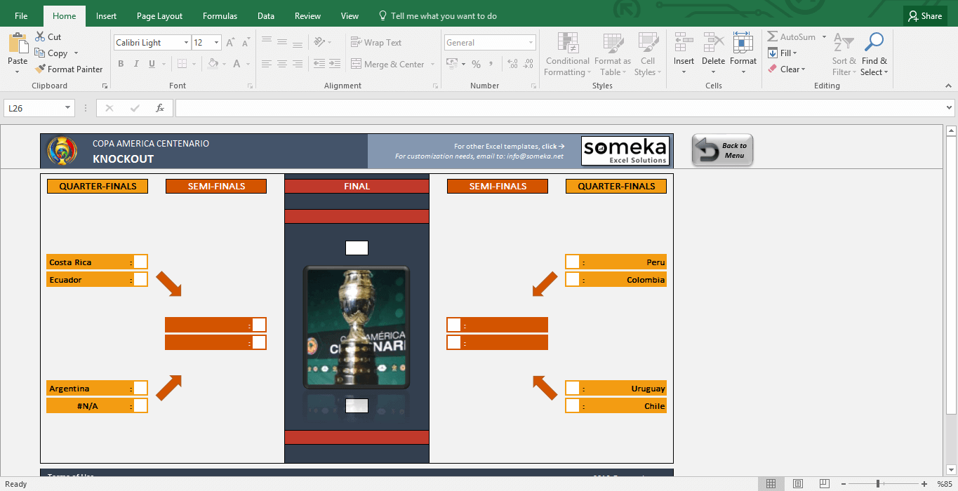 Copa America 2016 Excel Template - Schedule & Score Sheet - Template Screenshot Image 6 - Someka