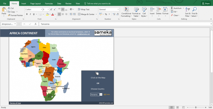 African Countries - Free Info List in Excel - Template Screenshot Image 1 - Someka