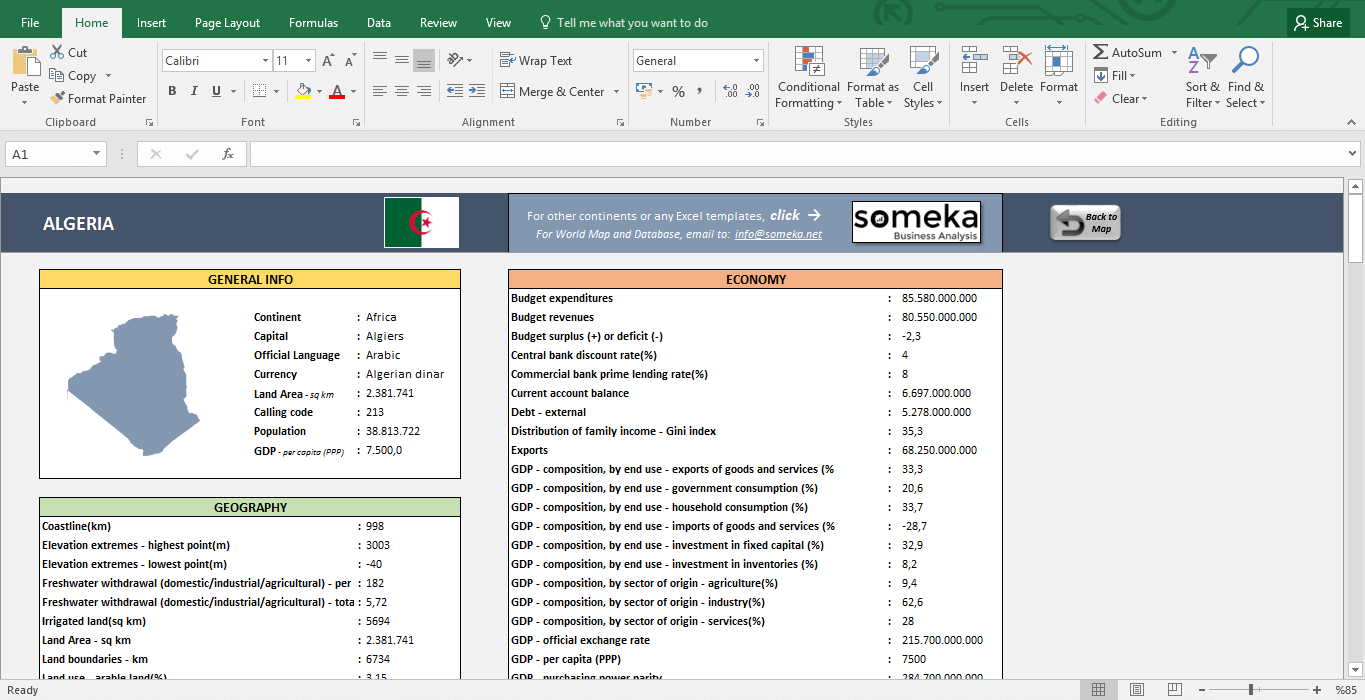 African Countries - Free Info List in Excel - Template Screenshot Image 2 - Someka