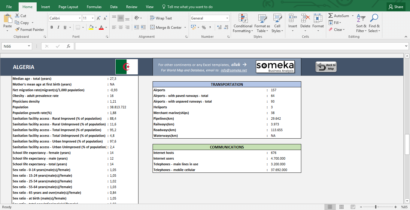 African Countries - Free Info List in Excel - Template Screenshot Image 5 - Someka