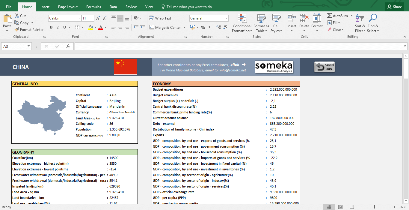 Asia Pacific Countries - Free Info List in Excel - Template Screenshot Image 2 - Someka