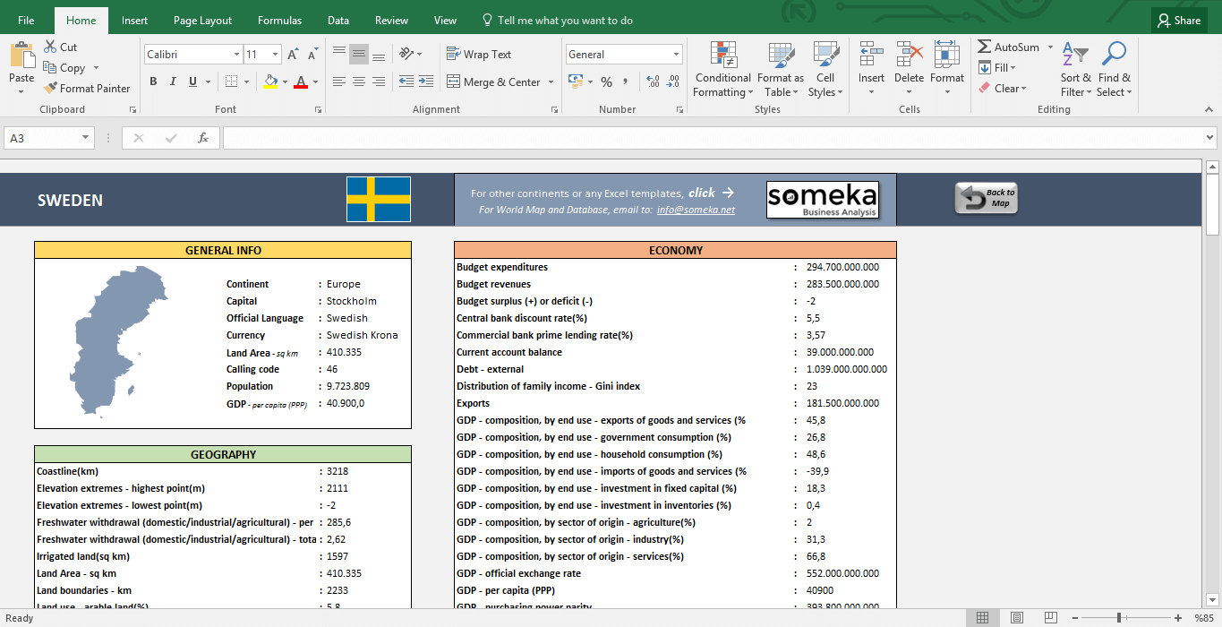 European Countries - Free Info List in Excel - Template Screenshot Image 3 - Someka