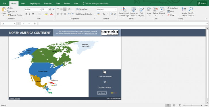North American Countries - Free Info List in Excel - Template Screenshot Image 1 - Someka
