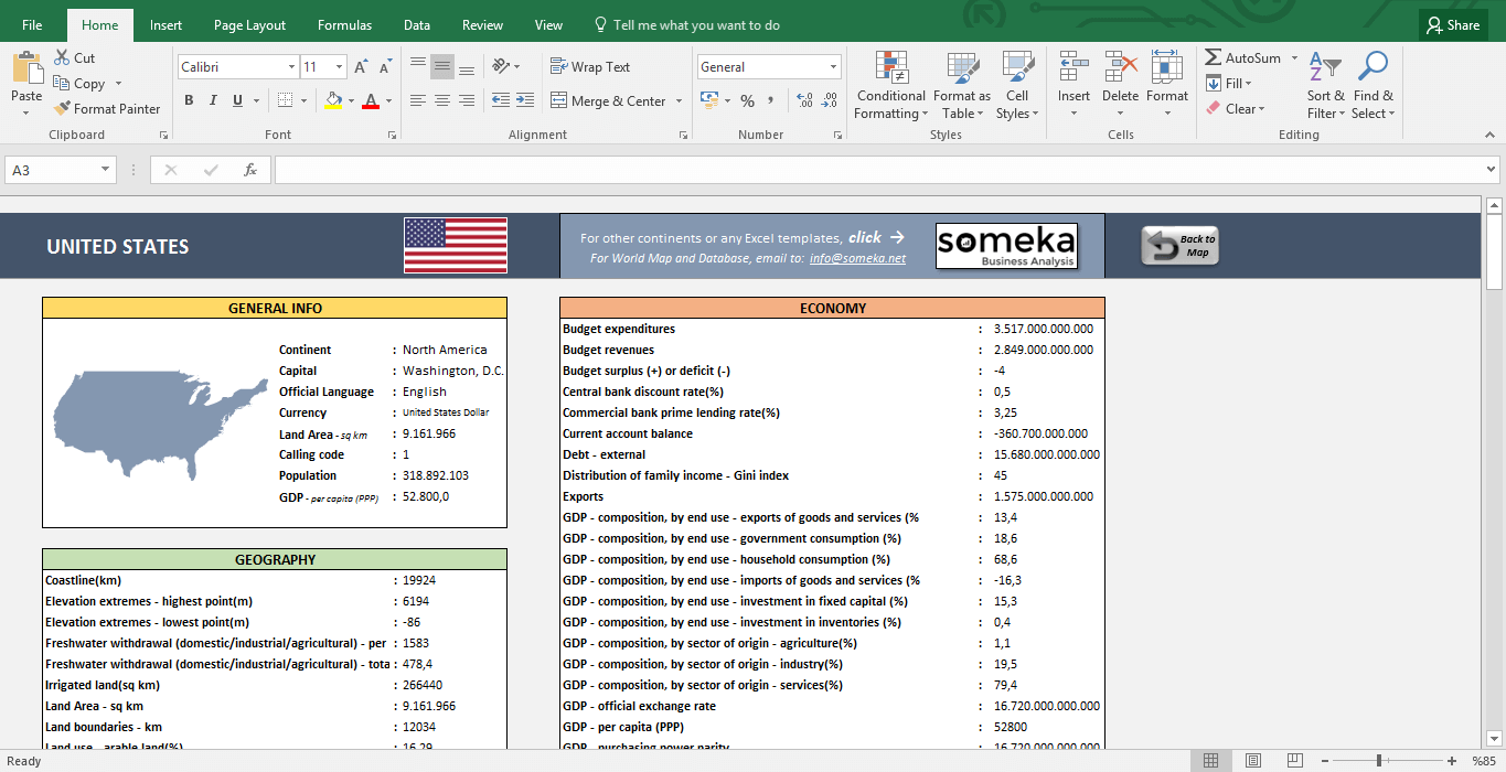 north american countries info list in excel free download