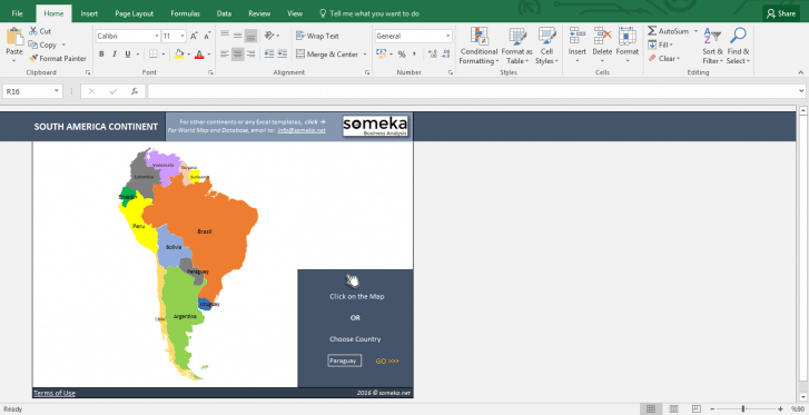 South American Countries - Free Info List in Excel - Template Screenshot Image 1 - Someka