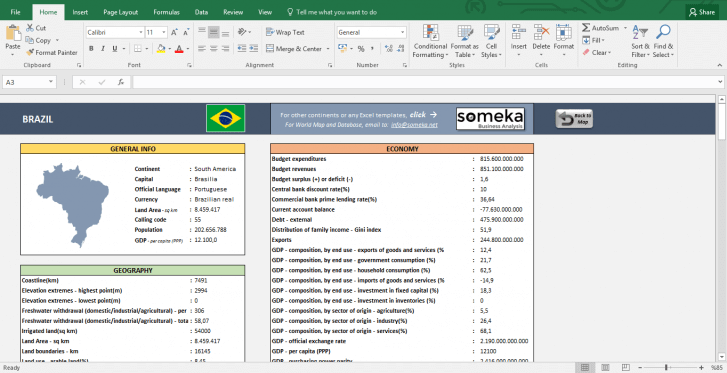 South American Countries - Free Info List in Excel - Template Screenshot Image 2 - Someka