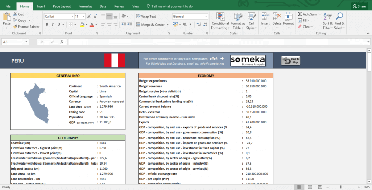 South American Countries - Free Info List in Excel - Template Screenshot Image 3 - Someka