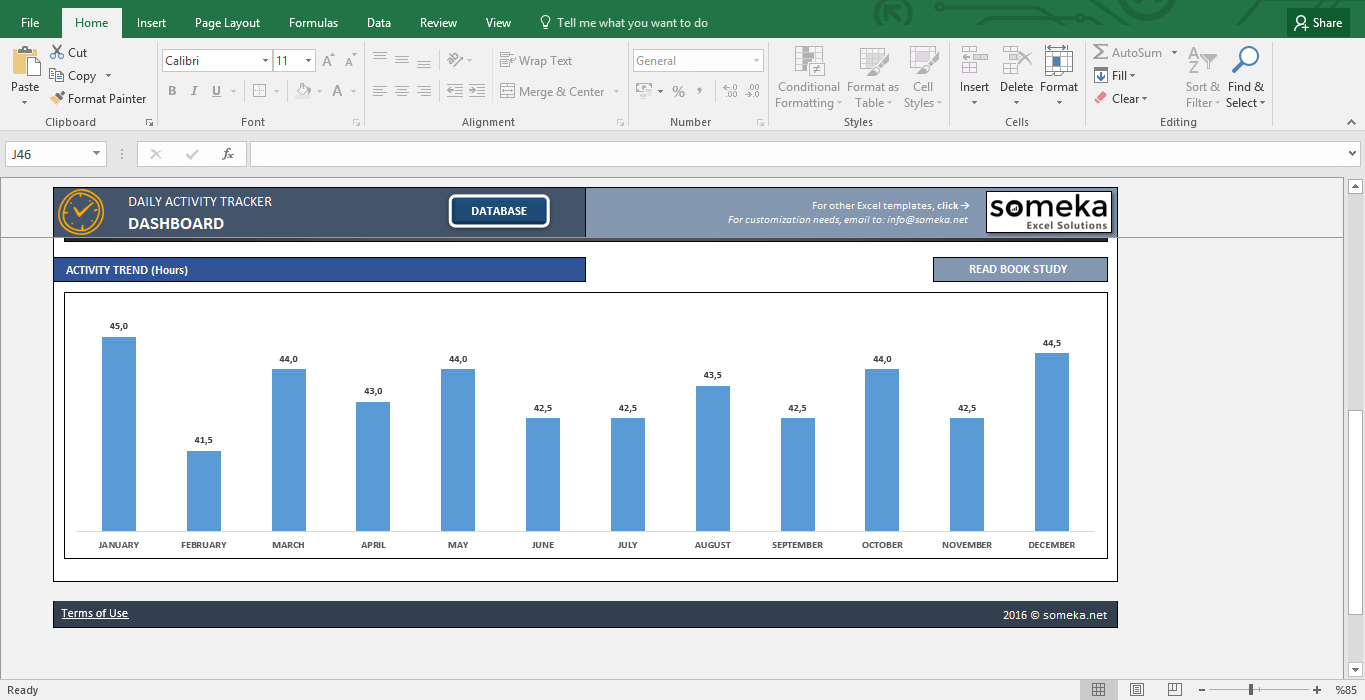 Activity Tracker - Printable Excel Template for Personal Plans - Template Screenshot Image 2 - Someka