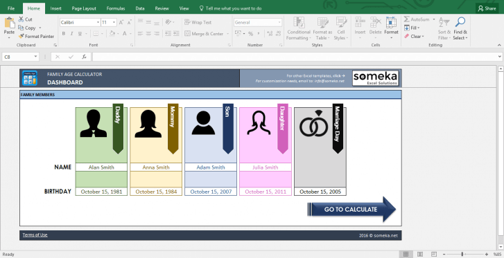 Family Age Calculator - Excel Tool to Find How Old Are You - Template Screenshot Image 1 - Someka