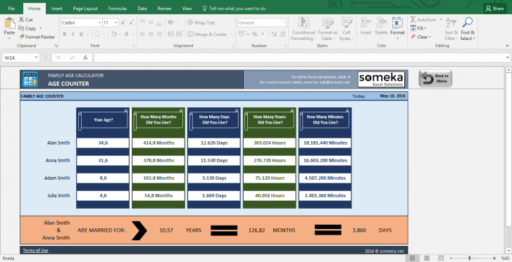 Family Age Calculator - Excel Tool to Find How Old Are You - Template Screenshot Image 2 - Someka
