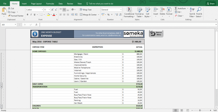 Monthly Budget Worksheet - Free Budget Template in Excel - Template Screenshot Image 4 - Someka