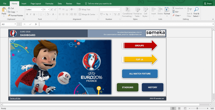 EURO 2016 Excel Template - Schedule and Score Sheet - Template Screenshot Image 1 - Someka