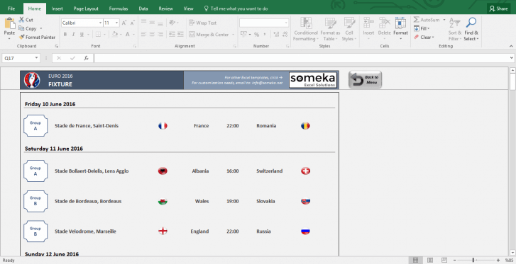EURO 2016 Excel Template - Schedule and Score Sheet - Template Screenshot Image 2 - Someka