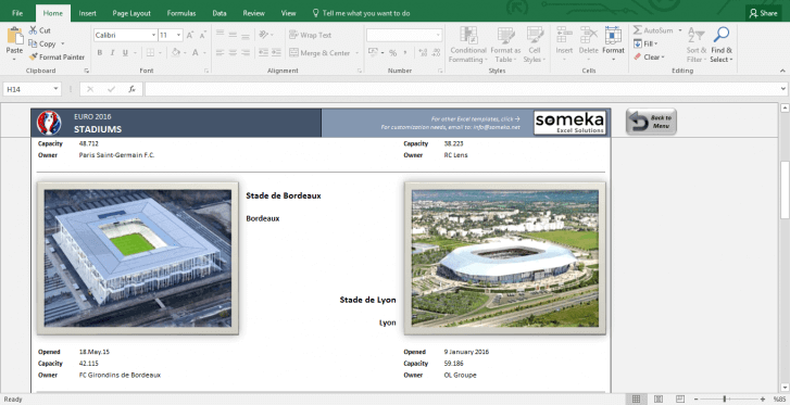 EURO 2016 Excel Template - Schedule and Score Sheet - Template Screenshot Image 3 - Someka