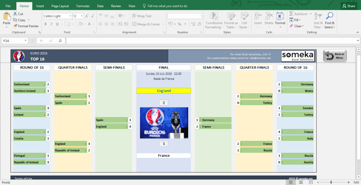 EURO 2016 Excel Template - Schedule and Score Sheet - Template Screenshot Image 6 - Someka