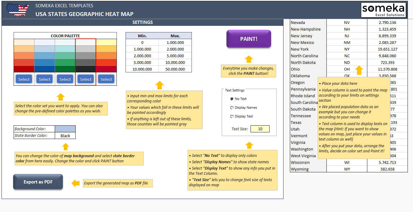USA Geographic Heat Map Generator - Excel Template - Someka SS5