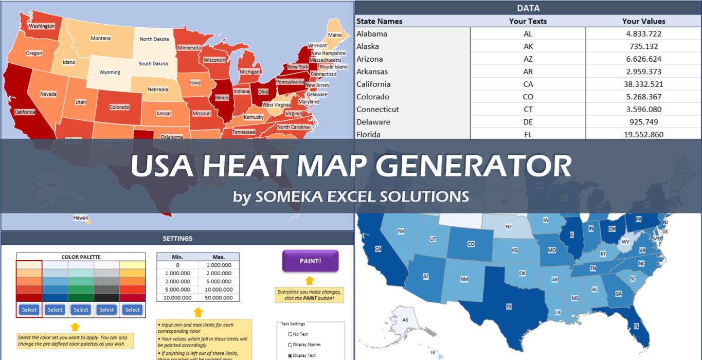Excel Us Map Template