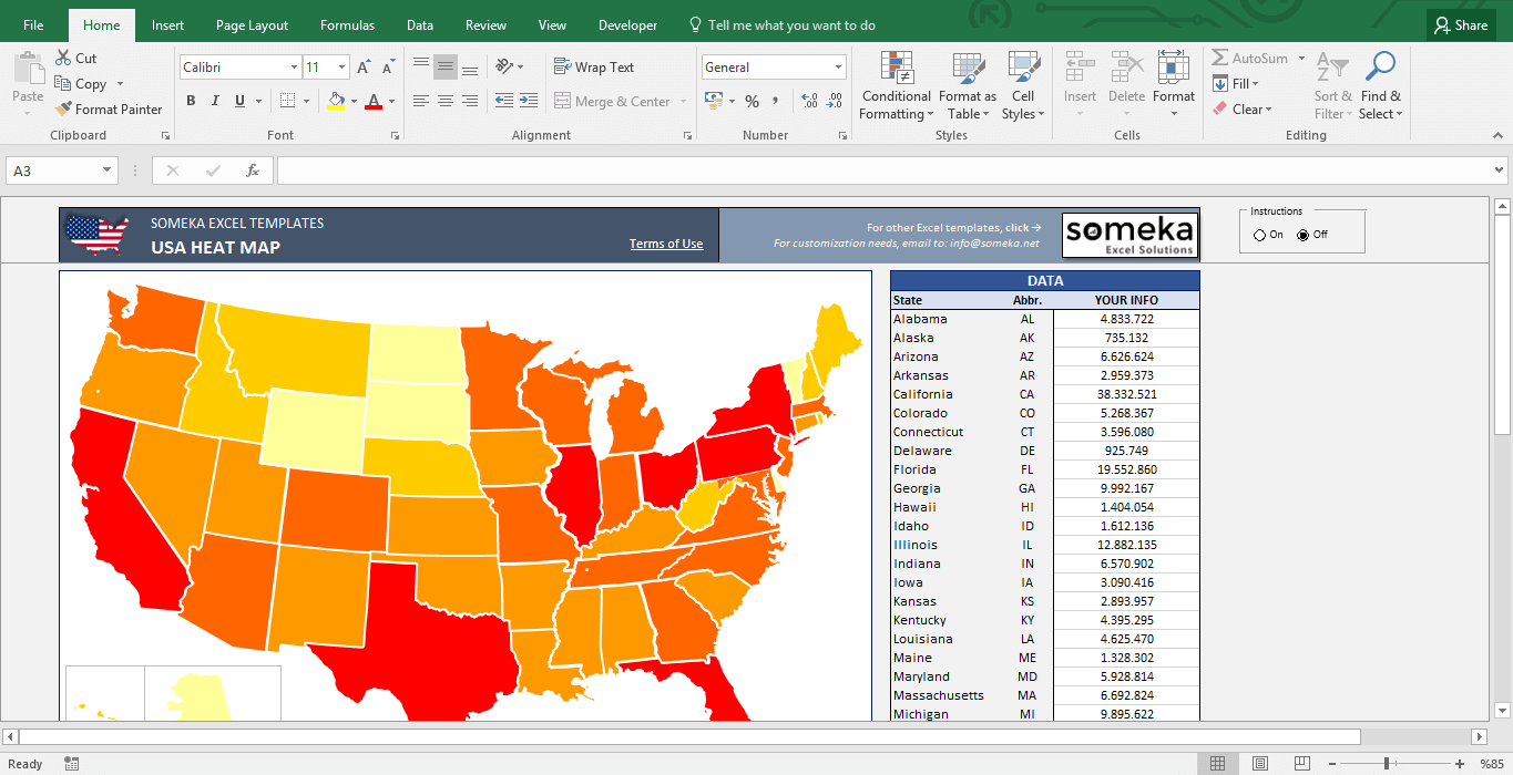 USA Heat Map Excel Template - Automatic State Coloring