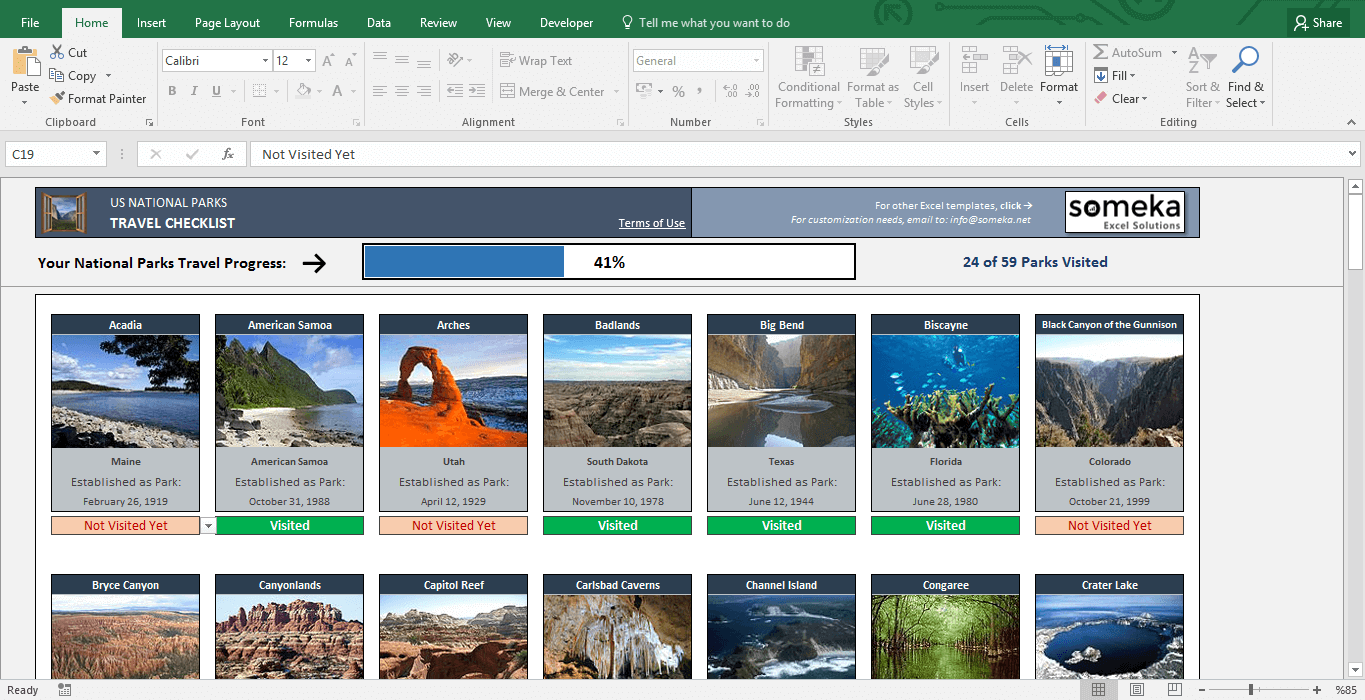 Printable List of National Parks - Free Excel Template - Template Screenshot Image 1 - Someka