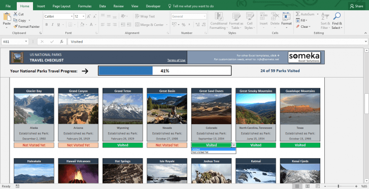 Printable List of National Parks - Free Excel Template - Template Screenshot Image 2 - Someka