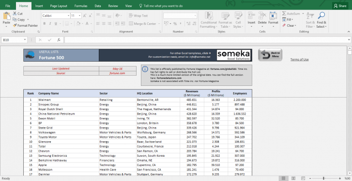 Fortune 500 Companies, Top Movies,Country Facts,NBA Awards and more - Template Screenshot Image 4 - Someka