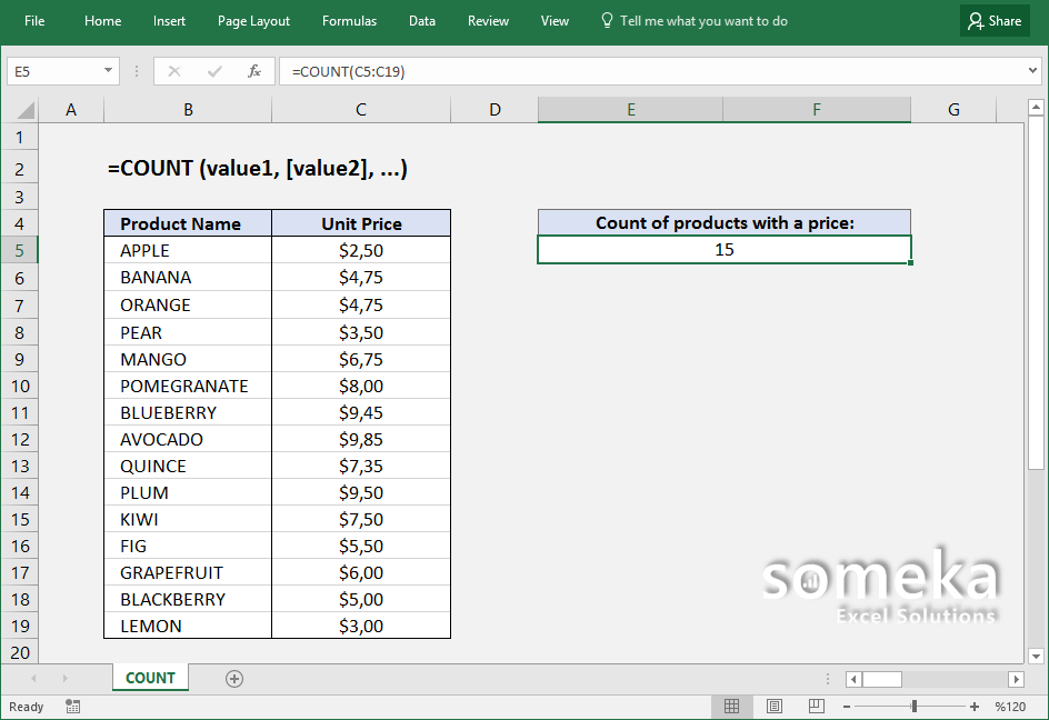 How To Use Excel Count Function Formula Details And