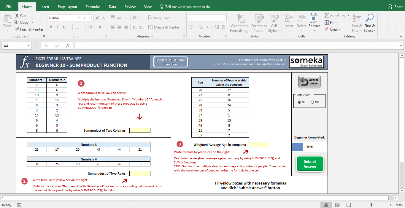 Excel Test - Interactive Excel Training with Questions - Template Screenshot Image 2 - Someka