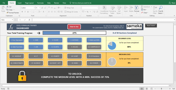 Excel Test - Interactive Excel Training with Questions - Template Screenshot Image 4 - Someka