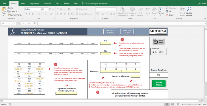 Excel Test - Interactive Excel Training with Questions - Template Screenshot Image 7 - Someka
