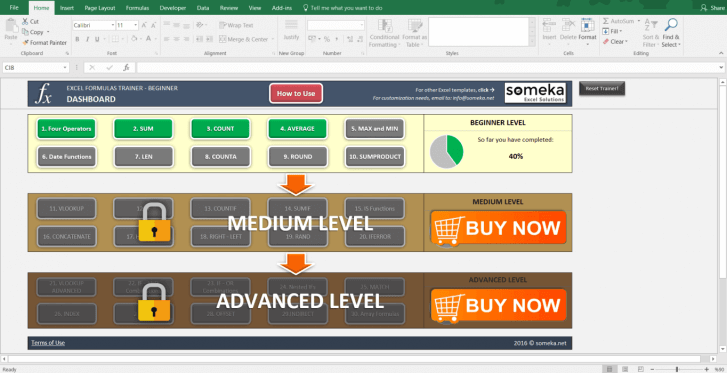 Excel Formulas Trainer - Beginner | Practice Workbook - Screenshot Image 4 - Someka