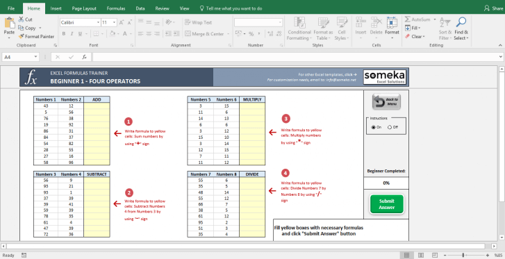 Excel Formulas Trainer - Beginner | Practice Workbook - Screenshot Image 2 - Someka