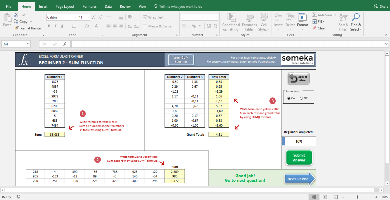 Excel Formulas Trainer - Beginner | Practice Workbook - Screenshot Image 3 - Someka