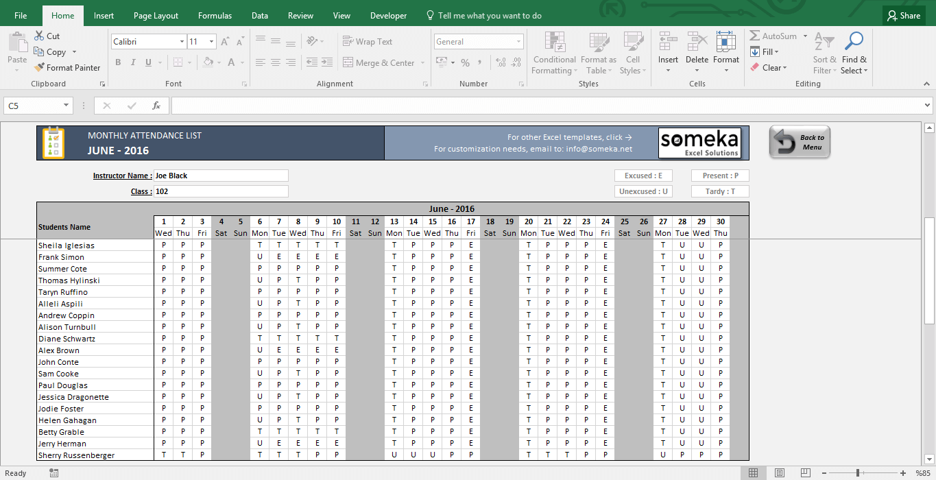 Attendance Sheet - Printable Excel Template - Template Screenshot Image 2 - Someka