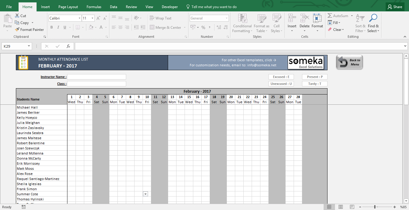 Attendance Sheet - Printable Excel Template | Free Download