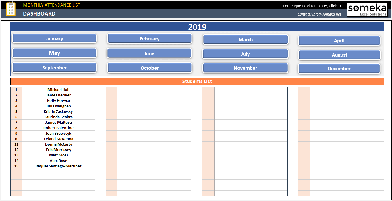 attendance sheet template in excel