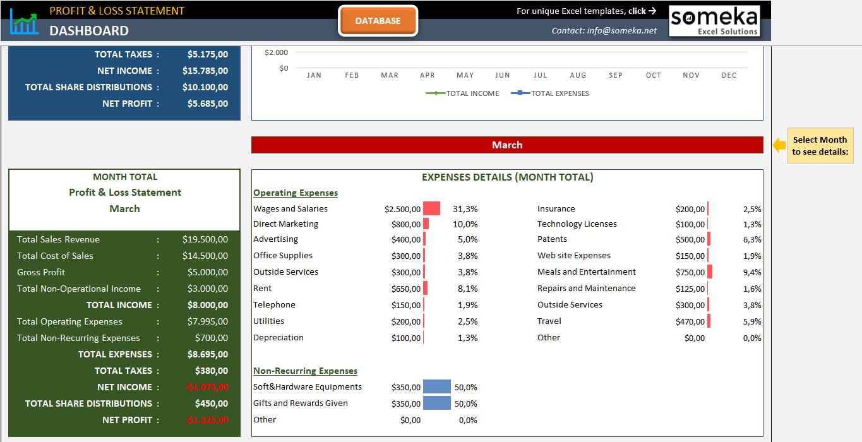 Profit And Loss Statement Template Someka Ss2