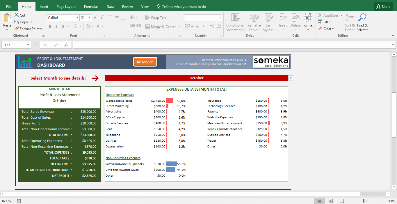 profit and loss statement template free excel spreadsheet template screenshot image 2 someka - Free Excel Dashboard Templates