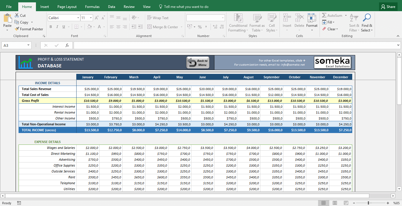 Profit And Loss Statement Template   Free Excel Spreadsheet   Template  Screenshot Image 3   Someka  Profit And Lost Statement