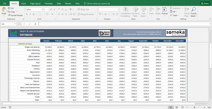 Profit and Loss Statement Template - Free Excel Spreadsheet - Template Screenshot Image 4 - Someka