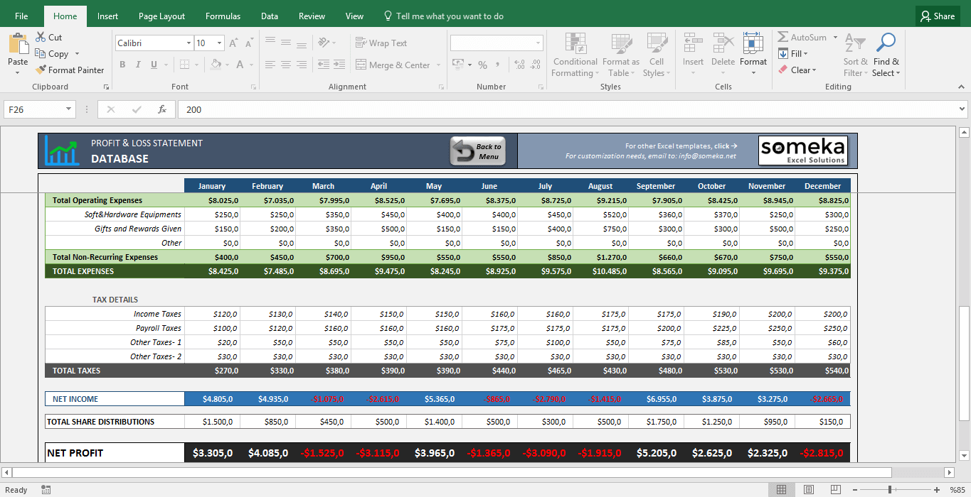 Income Statement Excel Template | Profit And Loss Statement For Small Business Excel