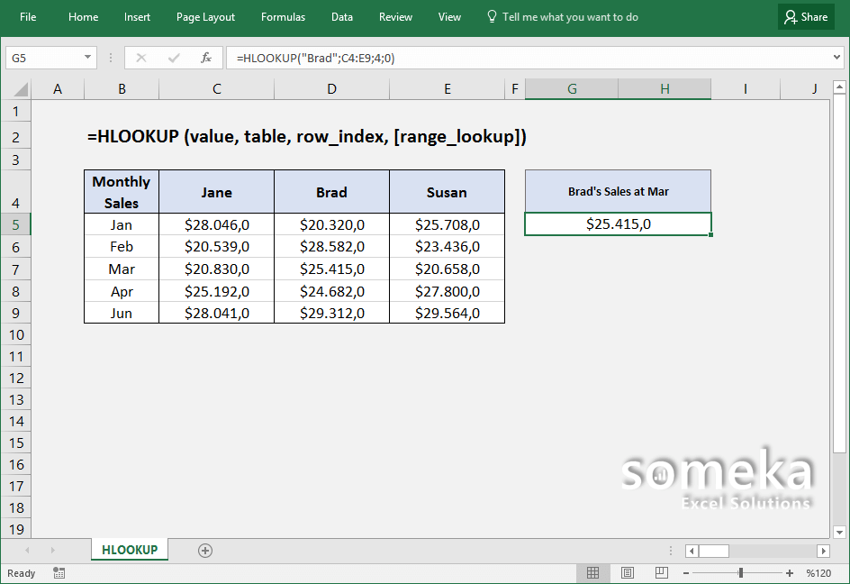 how-to-use-excel-HLOOKUP-function