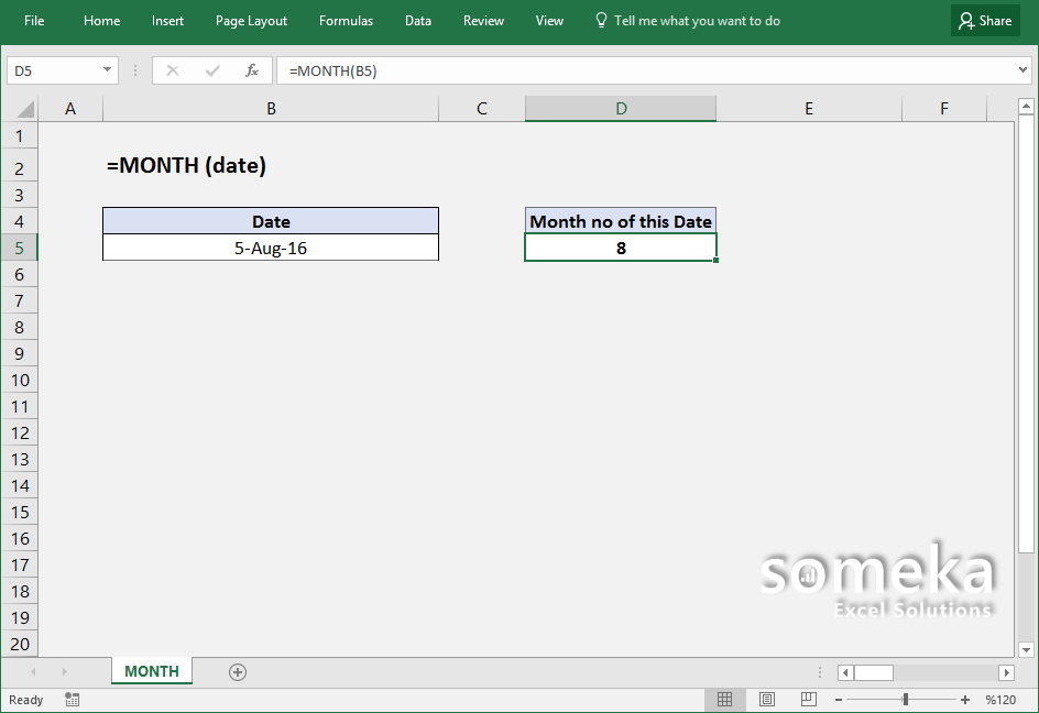 How To Use Excel Month Function Formula Details And
