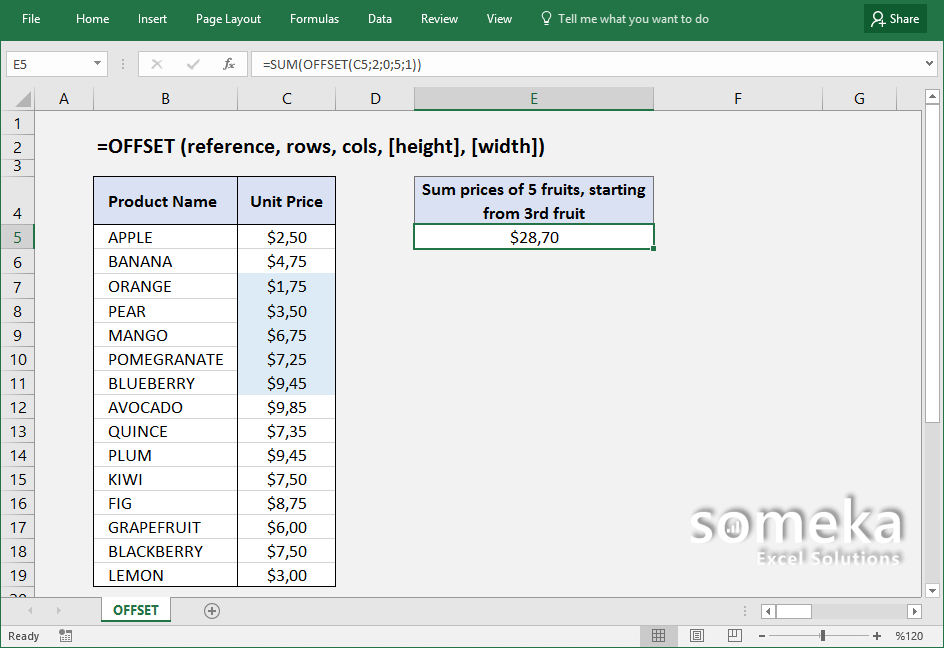 how-to-use-excel-OFFSET-function