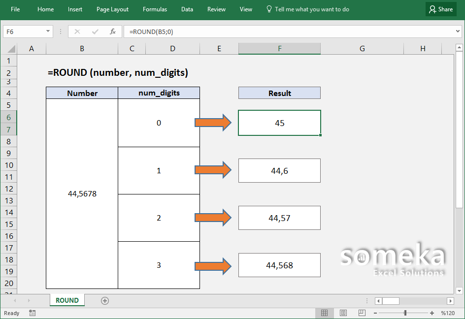 how to use excel round function