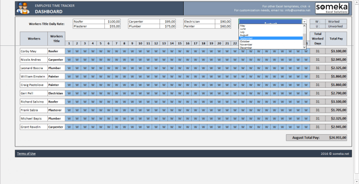 Employee Time Tracker and Payroll Template - Someka SS11