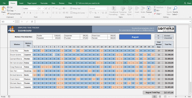 Payroll Template - Excel Timesheet - Template Screenshot Image 1 - Someka